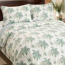 Tommy Bahama Tropez Island Quilt Set - Like a breath of fresh ocean air, the Tommy Bahama Tropez Island Quilt Set breezes into your bedroom and creates a tropical get away. You'll long to retreat from the day under its natural cotton comfort. This quilt reverses to a soft blue and includes matching quilted pillow shams. Available in your choice of size, the twin includes one quilted pillow sham, all other sizes include two shams.Quilt Dimensions:Twin: 88L x 66W in.Full/Queen: 90L x 90W in.King: 96L x 104W in.