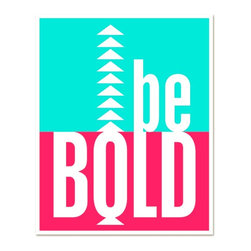 "Hairbrained Schemes - Be Bold Neon Art Poster - The hot pink and turquoise blue of this neon art poster are nothing to be shy about! Add some whimsy to your wall art with a bright reminder to ""Be Bold."" This bold art is ready to frame for your kids room or playroom."