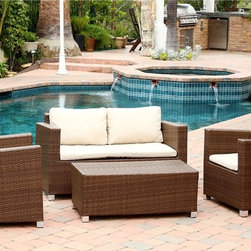 Abbyson Living - Abbyson Living Hampton Outdoor Brown Wicker 4-piece Sofa Set - You'll love relaing outdoors with your friends and family in this lovely Abbyson Living Hampton outdoor sofa set. Constructed of multi-toned brown wicker over a powder-coated iron frame,this comfortable set is perfect for your home.