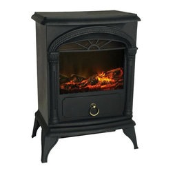 Home Decorators Collection - Carson Electric Stove Fireplace - For the look of a traditional wood stove without the mess, the Carson Electric Stove Fireplace is the perfect choice. A beautiful home accent, this fireplace features a realistic 3D patented flame and only needs a standard electric outlet to add warmth in any room of your home. Enhance your home decor by ordering today.Features a durable metal construction and plugs into any household outlet. Includes a safety cut-off and is CSA approved.