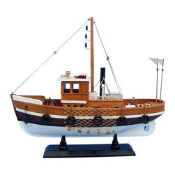 """Handcrafted Model Ships - Knot Working 16"""" - Wood Model Fishing Boat - Not a model ship kit"""