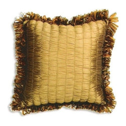 """CCCC-P-879 - Tahiti Antique Tufted Pattern Print 20"""" x 20"""" Throw Pillow with Ribbon Loop Trim - Tahiti Antique tufted pattern print 20"""" x 20"""" throw pillow with ribbon loop trim. Measures 20"""" x 20"""" made with a blown in foam and also available with feather down inserts at additional costs, search for down insert upgrade to add the up charge to your order. These are custom made in the U.S.A and take 4- 6 weeks lead time for production."""