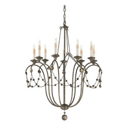 Arteriors Home - Devon Chandelier - Devon Chandelier is draped with chains of hammered beads. Supporting rods and graceful iron arms are in an Antiqued Silver Leaf finish with dangling globe shaped finial. Candleholders mimic real candles with a dripping wax design. Requires nine 25 watt 120 volt B10 candelabra base incandescent lamps, not included. UL listed. Dimensions: 29 inch diameter x 38 inch height.