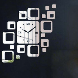 DIY Square Shape Home Wall Decal Wall Clock - Package Include: