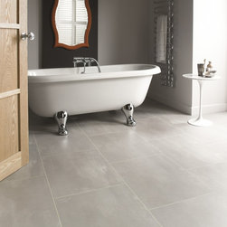 Karndean Vinyl Flooring - This luxury vinyl, Opus, has a natural stone effect so you can have the rich stone look and the convenience of vinyl. The clean lines of this bathroom are complimented with the color Urbus.