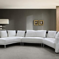 Advanced Adjustable Covered in All Leather Sectional with Pillows - Dimensions: