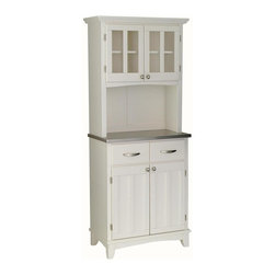 HomeStyles - Buffet and Hutch Set in White Finish - Two wood framed doors. Doors with adjustable shelf for plenty of inside storage. Brushed steel hardware. Buffet with two utility drawers. Metal drawer slides. 18 gauge stainless steel top. Hutch with plexiglass doors. Made from Asian hardwood and wood. Made in Thailand. Assembly required. Buffet: 29.25 in. W x 15.875 in. D x 36 in. H. Hutch: 31.25 in. W x 12.5 in. D x 36 in. H. Overall: 31.25 in. W x 15.87 in. D x 72 in. HBuffet-of-Buffets is an expansive collection of buffets and hutches designed to provide added storage and workspace for the kitchen and dining areas of the home. Including a clear coat finish to help protect against wear and tear from normal use.