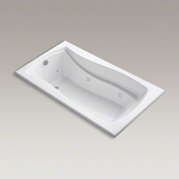 """KOHLER - KOHLER Mariposa(R) 66"""" x 36"""" drop-in whirlpool with reversible drain, custom pum - With delicate curves and an hourglass shape, the Mariposa bath brings harmony to your bathroom's design. Whirlpool jets massage away the day's tension as the built-in heater keeps your bath at the perfect temperature. A slip-resistant bottom surface offers extra traction and safety."""