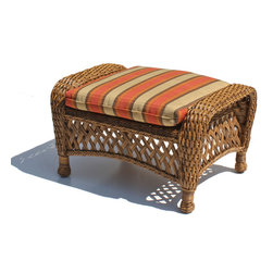 Wicker Paradise - Outdoor Wicker Ottoman - Montauk Shown in Natural - Put your feet up and know complete relaxation! Our Montauk Outdoor wicker ottoman has traditional lattice detailing with an aluminum frame.