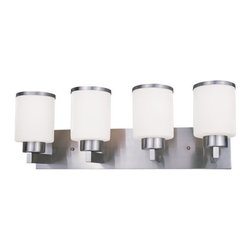 Z-Lite - Z-Lite 312-4V Cosmopolitan 4 Light Bathroom Vanity Light - For a cutting edge modern fixture, look no further than this four light vanity. Milk white shades are complimented with brushed nickel bands, and accented with a modern styled wall mount.Specifications: