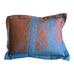 Bridge Throw Pillow - The urban colors and design are right at home on this elegant hand sewn and hand printed pillow. The bridge motif adds a fanciful modernity to any bedroom, or as a feature in your living room that will be sure to add continuous comfort.