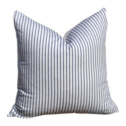PillowFever - Cotton Pillow in Blue and White Stripes - Pillow insert is not included!