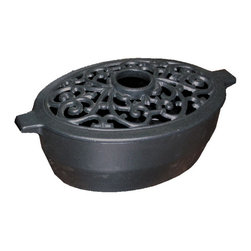John Wright - Large Filigree Black Matte Steamer - Made of cast iron, John Wrights new Large Filigree Steamer features a durable porcelain finish inside and out to resist rusting and chipping. Used for humidifying, steamers bring a pleasant fragrance to a room when filled with potpourri. Unique in design and of the highest quality, our steamers are functional as well as decorative stove accessories