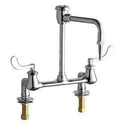 """Chicago Faucets - Chicago Faucets 947-317CP Chrome Laboratory Bridge Style Lab Faucet - Product Features:Manufactured and assembled in the United States of AmericaFaucet body and handles are covered under Chicago Faucet s limited lifetime warrantyConstructed of solid brassHigh quality chrome plated finish - finish covered under warranty for a yearDeck mounted hot and cold water mixing faucetDouble handle operation - handles rest on 1/4 turn valves seatsFull flow classic laboratory needle spout outletCeramic 1/4 turn operating cartridge - covered under 5-year warrantySpout swivels 360-degrees to allow for unobstructed access to the whole sinkADA compliantAll hardware required for faucet installation is includedThe Chicago Faucets Benefit:Commercial Grade Faucet: When a product is marked as """"commercial grade"""" it means it has been built specifically to stand the test of time, and has been factory tested to function flawlessly through constant and continuous use. It is expected that faucets used in a commerce fashion will see much more use, and inversely abuse than typical faucets you might see in a residential setting, so they are engineered to do just that. Using simple, yet reliable, designs coupled with the industry s highest quality materials these faucets are some of the most reliable on the market. Although they are marketed as being ideal for commercial settings, the savvy home owner might take the quality found here and add a staple of functionality throughout the home as well.Product Specifications:Overall Height: 12-1/8"""" (measured from mounting surface to highest point on the faucet)Spout Height: 6"""" (measured from mounting surface to spout outlet)Spout Reach: 6"""" (measured from center of faucet body to center of spout outlet)Required Installation Holes: 2Maximum Deck Thickness: 1-3/8"""""""