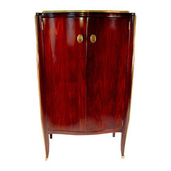 Pre-owned French Art Deco Armoire - This gorgeous French Art Deco flamed-mahogany armoire with gold-leaf highlights and brass hardware will bring that happiness to your home and life. Oval, knocker-style pulls and back plates. Sabre-style front legs terminate to a brass foot and tiny decorative loop. Interior has three adjustable shelves with brass peg and grommet supports. Back panel has hole cut for media wires. Excellent vintage condition, with very slight signs of wear. Please see photos.