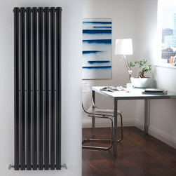 Hudson Reed - High Gloss Black Vertical Designer Radiator Heater 63 x 18.6 & Valves - With an impressive heat output of 1,375 Watts (4,694 BTUs), this designer radiator, in a fashionable high gloss black finish (RAL9005), is stylish and highly efficient, ensuring that your room is heated quickly.This luxury radiator is designed especially for use in any room, looking equally stylish in a modern or traditional setting; its eight anthracite vertical columns bring a touch of elegance to any living space. This modern version of the traditional cast-iron radiator is also highly functional, connecting directly into your domestic central heating system via the angled radiator valves included. This radiator comes complete with a 10 YEAR GUARANTEE.Luxury High Gloss Black Vertical Designer Radiator 63 x 18.6 Details  Dimensions: (H x W x D) 63 x18.6 x 4(1600mm x 472mm x 56mm) Output: 1,375 Watts (4,694 BTUs) Pipe centres with valves: 21.6 (548mm) Wall to centre of tapping: 2.5 Number of columns: 8 Oval crossbars Designed to be plumbed into your central heating system Suitable for bathroom, cloakroom, kitchen etc. Please note: Angled radiator valves are included  Buy now, to transform your living space, at an affordable price.10 year guarantee Please Note: Our radiators are designed for forced circulation closed loop systems only. They are not compatible with open loop, gravity hot water or steam systems.