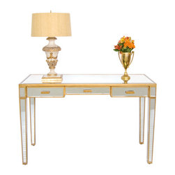 Worlds Away Vivien Mirrored Desk, Gold - Mirrored 3 drawer desk with painted antique gold wood edging. All drawers on glides.