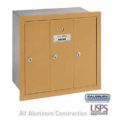 Salsbury Industries - Vertical Mailbox - 3 Doors - Brass - Recessed Mounted - USPS Access - Vertical Mailbox - 3 Doors - Brass - Recessed Mounted - USPS Access
