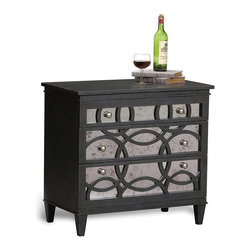 Sarreid Ltd. - Black Fox Virna Mirrored Chest - Carefully crafted in Italy, this chest's three drawers supply storage space, while its mirrored panels and decorative circle accents add an elegant focal point to your bedroom's décor.   32'' W x 30'' H x 18'' D Wood / mirror No assembly required Made in Italy