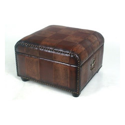 International Caravan - Ottoman - Features: -Ottoman trunk with lid and 3.5'' ball feet.-Opens up to add storage space to any room.-Covered in faux leather.-Equipped with handles for easy carrying.-Distressed: No.Dimensions: -Overall dimensions: 16'' H x 21.5'' W x 23.5'' D.-Overall Product Weight: 30 lbs.