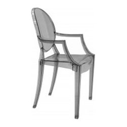 Lemoderno - Fine Mod Imports  Clear Arm Chair, Smoke - In spite of the evenescent and crystaline impression, strong resistant to blows, scratchproof and weatherproof; as many as six peices can be piled up. With a strongly charismatic charcter and outstanding aesthetic appeal, this chair fits perfectly into every home or public area with elegance and irony. Transparent Acrylic Stackable   Assembled