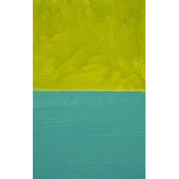 """Chartreuse Sky Aqua Bay"" (Original) By Matthew Seigel - Sleepy, Late Afternoon. Storm Approaching? Or Just Dusk? Acrylic On 3/4 Inch Cradled Birch Plywood. Sides Painted Similar Color. Signed On Back. Easy Hang, Rests On One Small Nail (Included)."