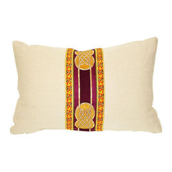 Acapillow - Golden Ribbon Pillow - Knots are symbols of eternity, unity and love. The lavishly adorned ribbon on this soft throw pillow tells the story of emerald green land, ancient history and life's mysteries. Shades of gold and royal purple on top of clean white hemp catch the eye, but are neutral enough to work with any modern eclectic decor.