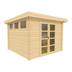 ECO Garden Sheds - Sunshine 10 x 10 Wood Shed / Pool House - ECO Garden Sheds. All natural wood 10 x 10 Modern pool house/ wood garden shed -- Sunshine. Front view A.