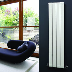 Hudson Reed - White Vertical Double Flat Panel Aluminum Radiator 59 x 12.5 & Valves - Four double vertical panels with stylish grooves, finished in superior white powder coat (RAL9016), make this radiator a striking design feature of any contemporary living space. Manufactured from lightweight aluminum for optimum heat output, the double vertical panels deliver an amazing 1335 Watts (4556 BTUs), enough to heat your room quickly and efficiently.Stylish and effective, this modern classic connects directly into your domestic central heating system by means of the radiator valves included and is supplied complete with a fixing pack. This radiator comes complete with a 5 YEAR WARRANTY.White Vertical Double Flat Panel Designer Radiator 59 x 12.5 Features• Dimensions (H x W x D): 59 (1500mm) x 12.5 (318mm) x 3 (77mm) • Output: 1335 Watts (4556 BTUs)• Maximum Projection from Wall: 4.25 (108mm)• Pipe centres with valves: 16.1 (410mm) • Number of panels: 4 x 2• Fixing Pack Included (see image above) • Designed to be plumbed into your central heating system • Suitable for bathroom, cloakroom, kitchen etc. • Please Note: Radiator and Valves are shipped from two separate warehouses Please Note: Our radiators are designed for forced circulation closed loop systems only. They are not compatible with open loop, gravity hot water or steam systems.