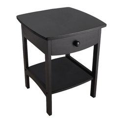 Winsome Wood - Winsome Wood 20218 Curved End / Night Table with Drawers in Black - Elegantly simple, this nightstand has room for all the necessary nighttime accessories. Its curved, smooth design blends well with any style of bedroom decor. Assembly required.