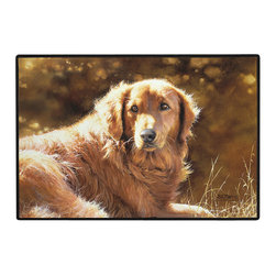 095-Heart Of Gold Golden Retriever Doormat - 100% Polyester face, permanently dye printed & fade resistant, nonskid rubber backing, durable polypropylene web trim on the porch or near your back entrance to the house with indoor and outdoor compatible rugs that stand up to heavy use and weather effects