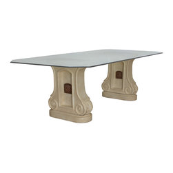 """Wall Fountain Dining Table Base (2 Pedestals) - Wall Fountain Dining Table Base (2 Pedestals). Style no: DT14002. 24""""w x 10 1/2""""d x 29 1/2""""h. Material: Cast stone. Finish: LS (Limestone), BT (Beige Stone), BS (Black Stone), or as specified. Top Options: Glass, wood, or copper. Custom sizing available. Designed by Shah Gilani, ASFD."""