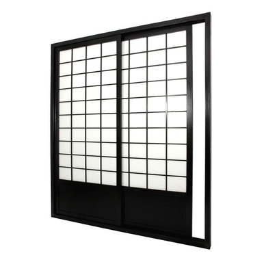 Oriental Unlimted - Double-Sided Zen Shoji Sliding Door Kit (Blac - Finish: BlackIncludes sliding doors, top and bottom tracks and right and left door jambs. Shade is tough. Hard fiber rice paper, difficult to puncture that allows diffused light. Provides complete privacy. Designed for constant use. Easy to install, like a pre-hung door kit from the lumberyard. Top quality at an unbeatable price. Crafted from durable, lightweight and beautifully finished Spruce. Constructed using east Asian style mortise and tenon joinery. Finished frame with intricate lattice design on both sides. Overall: 73.5 in. W x 3.5 in. D x 83 in. H. Tracks and jambs: approximately 3.5 in. W x 1.75 in. H. Each door: approximately 36 in. L x 1 in. W x 80 in. H. NOTE: If you prefer no bottom track, install sliding door hardware (top mounted) from your local hardware retailer
