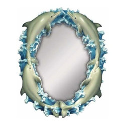 WL - 9 Inch 4 Blue Dolphins Surrounding The Frame of Small Mirror - This gorgeous 9 Inch 4 Blue Dolphins Surrounding the Frame of Small Mirror has the finest details and highest quality you will find anywhere! 9 Inch 4 Blue Dolphins Surrounding the Frame of Small Mirror is truly remarkable.