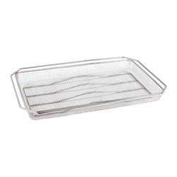 Paderno World Cuisine - Stainless-steel Fry Basket, 1/1 - This stainless-steel oven fry basket is primarily used for cooking fried products in a convection oven. The wire construction allows the oven's dry heat to cook food easily and provides an evenly-browned and crispy finish to foods such as French fries. The basket's size makes it easy to cook large quantities at a time. This healthy alternative to deep-frying also saves space and costs, as it eliminates the need to purchase, store and dispose of oils.