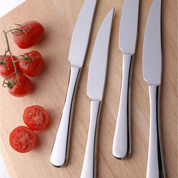 Splendide - Splendide 'Georgia' 8-piece Stainless Steel Steak Knife Set - These Splendide steak knives are constructed of 18/10 stainless steel with an attractive mirror finish. These knives have a decidedly modern look to complement any table setting.