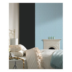 Graham & Brown - Lucid Wallpaper - The satisfying palette drifts from neutral shades into confident colour-pops. soft fluid waves are delicately underpinned by lustrous metallic linear detailing. Our light blue wallpaper will make a soft flowing feel to your home.