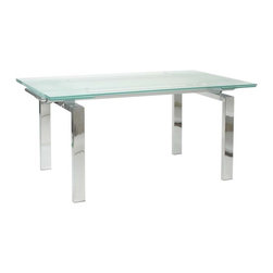 "Eurostyle - Eurostyle Shelly Extension Glass Top Dining Table in Chrome - Extension Glass Top Dining Table in Chrome belongs to Shelly Collection by Eurostyle The table that has more of everything. Clear glass or frosted? How about both. 63"" wide to 87"" wide. No problem. The Shelly table is designed for a quiet dinner for 2 or go ahead and invite everyone you know! You've got room. Top (1), Base (1)"