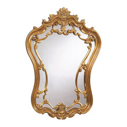 Bassett Mirror - Antique Gold Victorian Wall Mirror - Antique Gold Finish - Shaped. Measures: 35 in. W x 24 in. H.