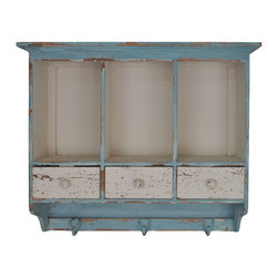Enchante Accessories Inc - Distressed Wooden Hanging 3 Section Wall Cabinet, Blue/Cream - Organize coats, hats, jackets in our cubbie style distressed finished shelf a wonderful multi functional piece of wall furniture for your home. This entryway cubby shelf is perfect for placement near your door, especially if you don't have a closet nearby. Neatly storing your outerwear is a must and this attractive shelf fulfills multiple functions. It's a coat rack, storage shelf and display shelf all in one. Three generously sized cubbies to hold purses, gloves and other small items. Three sturdy double hooks give a place to hang your hat or coat.