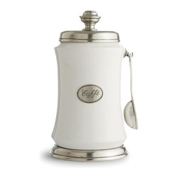 Festivo Coffee Canister with Spoon - A clever taper gives the Festivo Coffee Canister an unusual, delightful appearance on your kitchen counter e all the more pleasing because the white ceramic body is equipped with a pewter hook to hold its own matching scoop. The oval plaque in the center of the front of the jar, which advertises the contents are ecaffe,e ties together this element with the round lid and base of the porcelain jar, each of which is expertly cast from authentic Italian pewter for a look of old-world appeal.