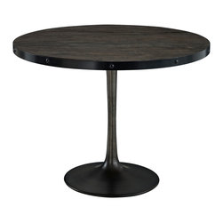 LexMod - Drive Wood Top Dining Table in Black - Deliberately implement down-to-earth aesthetics with the Drive industrial modern dining table. Fashioned on a cast iron pedestal base, the round pine top is braced in a rim of iron to connote progress amidst rustic conditions. In contrast to the standard four legged tables, the single stand variety has been gaining popularity over the past 60 years. Now with the resurgence of industrial modernism, the warehouse of yesteryear comes remodeled into its present stance as an artform.