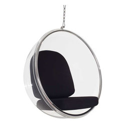 Modway - Ring Lounge Chair, Black - Gladden the everyday with the transparent Ring Chair. Your experience of space will never be the same as you let brilliant reality shine in all directions. Gently unite the prism of light and life as you sit elevated amongst a plane of renewal and rejoicing.