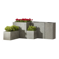 Campana - Fusion Modular Planter 35.5 x 17.5 x 17.5 Gray - Fusion planters are a synthesis of traditional shapes and contemporary horizontal and vertical lines. The result is a collection that is understated but profound in it's uncluttered orderly imagery. New planter ideas of imagination, designed for durability and produced by a patented process. Medium weight for non-strenuous relocation. U.V. and frost resistant. Matte earth element colors portray natural aging.