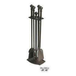 Ball & Claw Tools in Burnished Black - The Ball & Claw Tool Set stands three feet tall and weighs only 20 pounds. The steel handles are individually crafted and the matte black finish is protected by a special coating. The brushes are made of natural, flame-resistant fibers. The classic, elegant design will fit into nearly any type of room décor.
