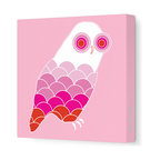 """Avalisa - Animal - Owl Stretched Wall Art, 28"""" x 28"""", Pink - Bird up! The ever-popular owl as you've never seen it before, with scallop-motif feathers and concentric circle eyes. Hang this sleek, stretched wall art in a child's bedroom or play area for a sense of wisdom with whimsy."""