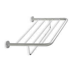 StilHaus - Wall Mounted Towel Rack, Satin Nickel - Contemporary style wall bath towel shelf with bar.