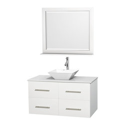 "Wyndham Collection - Centra 42"" White Single Vanity, White Man-Made Stone Top, White Porcelain Sink - Simplicity and elegance combine in the perfect lines of the Centra vanity by the Wyndham Collection. If cutting-edge contemporary design is your style then the Centra vanity is for you - modern, chic and built to last a lifetime. Available with green glass, pure white man-made stone, ivory marble or white carrera marble counters, with stunning vessel or undermount sink(s) and matching mirror(s). Featuring soft close door hinges, drawer glides, and meticulously finished with brushed chrome hardware. The attention to detail on this beautiful vanity is second to none."