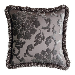 Jennifer Taylor - Jennifer Taylor 18 x 18 in. La Rosa Fringe Pillow - 2248-670672 - Shop for Pillows from Hayneedle.com! Romantic details and a sophisticated gray color make the Jennifer Taylor 18 x 18 in. La Rosa Fringe Pillow an elegant addition to your master bedroom ensemble. This square pillow includes a plump insert and has a gray chenille cover with a tone on tone floral pattern and fringe edging.About ACG Green Group Inc.ACG Green Group is a home furnishing company based in Irvine California and is a proud industry partner with the American Society of Interior Designers. ACG Green features Jennifer Taylor and Sandy Wilson their exclusive home decor lines. These two complete collections offer designer home furniture bedding sets dining linens curtains pillows and more in classic silhouettes original designs and rich colors to complement your home and life.