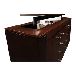 """Flat screen TV lift furniture, US Made Modern Buffet. Available in 5 woods - TV lift furniture Modern Buffet in Walnut design by """"Best of Houzz 2014"""" for service, Cabinet Tronix.  Designer US made furniture perfectly married with premium US made TV lift system."""